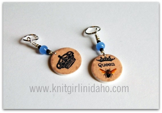 Queen Bee Charm Stitch Markers (Set of 2)