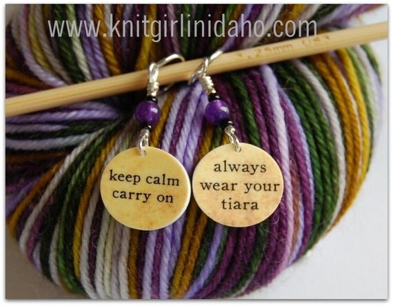 Always Wear Your Tiara and Keep Calm Carry On Charm Stitch Markers (Set of 2)