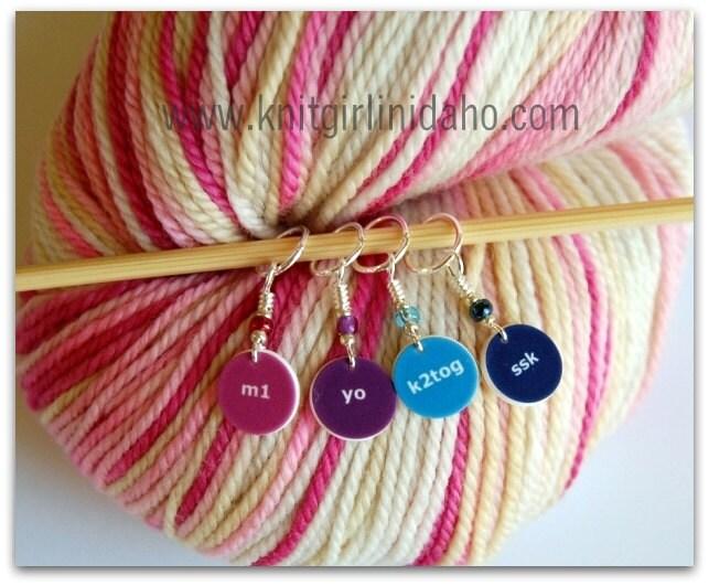 Knitting Ssk Yo : Mini knitting charm stitch markers ssk k tog m yo set of