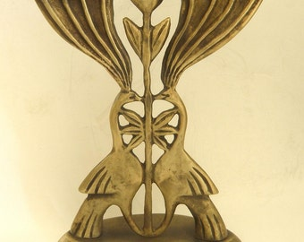 Original bronze hanukka menorah by Shaul Baz