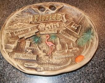 Vintage Florida Souvenir Plate with Flamingo Miami Beach, Seven Mile Bridge Key West, Old City Gates St. Augustine Daytona Beach Orlando