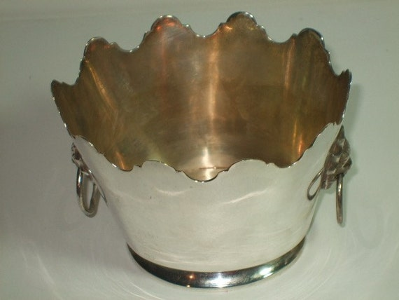 Vintage Miniature Hollywood Regency Silverplated Ice Bucket with Lion Head Doorknocker