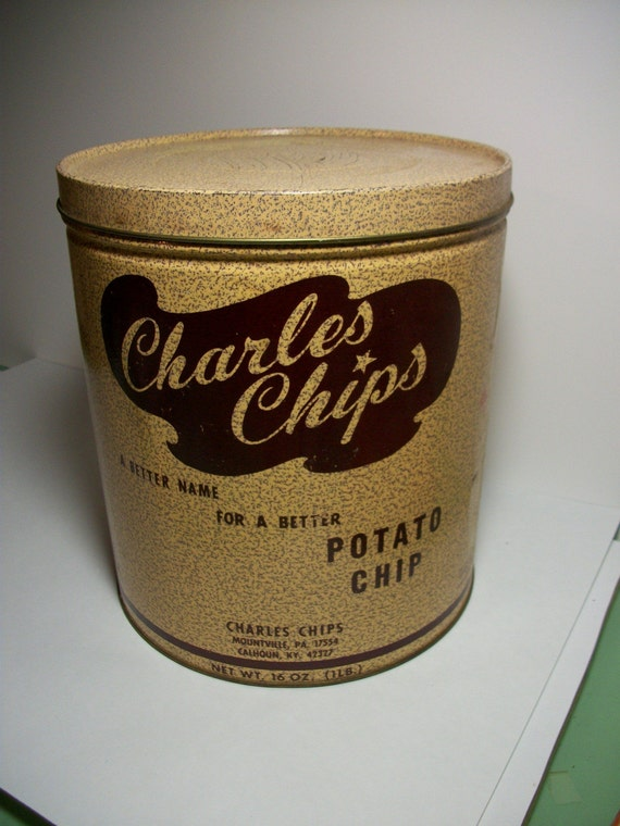 Vintage Charles Chips Tin Container