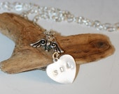 Custom order Remember Sterling Silver Heart with angel wings