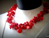 Red Coral Hand crochet necklace