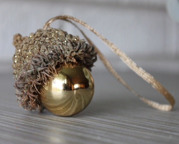 Christmas Ornament Giant Acorn Gold Glitter and Glass