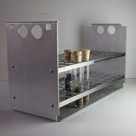 test tube rack holder spices bead storage vintage industrial science geek stainless steel