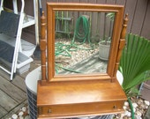 reserved for crela vintage solid maple wood Ethan Allen Vanity-Great Item- Shaving - Vanity Mirror by Baumritter -Treasury Item-
