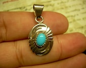 Vintage Sterling and Turquoise ethnic Pendant, Unique abstract like design stamped Sterling