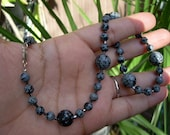 Snowflake obsidian and 925 Sterling necklace