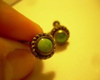 Antique Silver and turquoise screw back earrings RARE