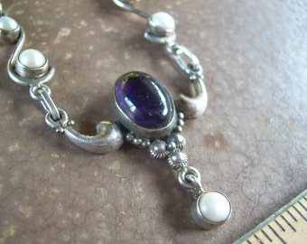 Vintage Genuine Amethyst and Genuine Pearl 925 necklace- Amazing