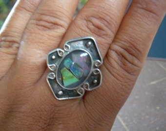 Vintage Sterling Silver SS and black opal, crystal opal, boulder opal this piece is Unmarked and hand crafted Must see -
