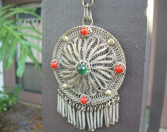 Old Vintage Ethnic Filigree Gypsy pendant and necklace with Acrylic and Glass Beads, Hand made