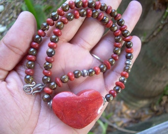 Lovely Vintage hand made red Coral and Tigers eye necklace with Huge red Coral accent piece