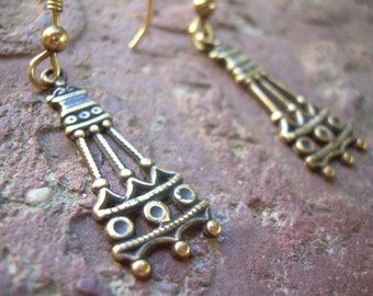 Classic Vintage brass dangle earrings abstract tower design