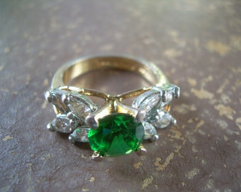 Beautiful EDCO Gold Over 925 with brilliant cut emerald along with Marquis cut Cz's stamped and hallmarked