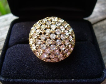 Stunning Vintage Gold Plated and CZ Dome shaped Pave style adjustable ring- great Holiday Find