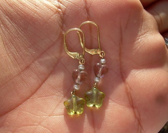 Vintage 14 K Gold filled and seed pearl gem stone hand made earrings for pierced ears