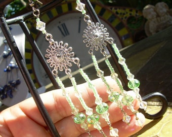 Hand Made OOAK Chandelier style faceted crystal earrings in light lime green Great for summer