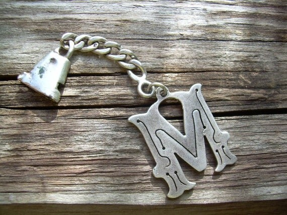 Unique Unidentified Piece of Vintage  jewelry With M Initial Hallmarked Sterling silver-