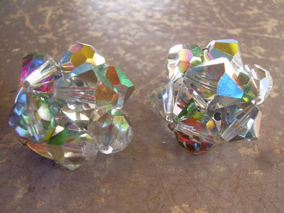 Vintage 1950's cluster smokey AB glass clip earrings great for the holidays