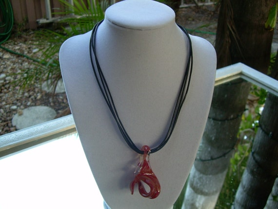 Lovely Hand blown glass pendant with sterling silver toggle and three strand leather necklace Beautiful Older piece