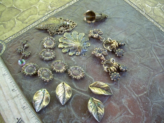 Old Vintage brass and Brass tone findings including Crystals Neat steam-punk style supplies for altered art/crafts