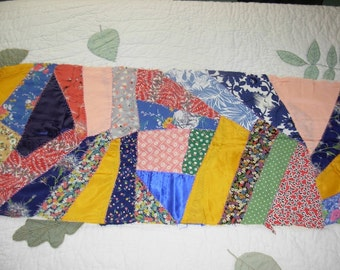 Vintage Crazy Quilt Small Top Piece with Backing and Top Stitching