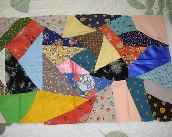 Vintage Crazy Quilt Small Top Piece Number 3 with Cotton Backing