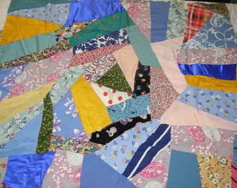 Vintage Crazy Quilt Small Top Piece with Cotton Muslin Backing and Partial Embroidered Top-Stitching