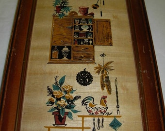 Vintage Early American Themed Framed Wall Hanging or Plaque Kitchen Scene, Clock, Spices, Chicken, Trivet, etc.