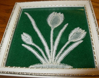 Honiton Lace in Plant/Flower Motif, Framed, Vintage, Handmade in 1985