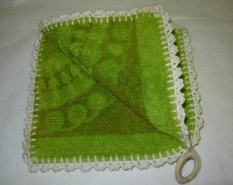 Thick Avocado Green Handmade Potholder 1960's Vintage, from Towel