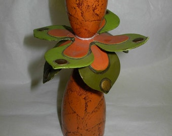 Vintage Orange and Lime Green Mod Flower Candle Holder, late 60's or early 70's