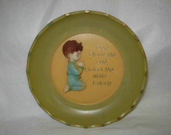"Vintage Wall Plaque of Young Boy Kneeling and Praying ""God Bless Me and Protect Me While I  Sleep"""