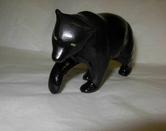 Vintage Ceramic Black Bear with Green Eyes