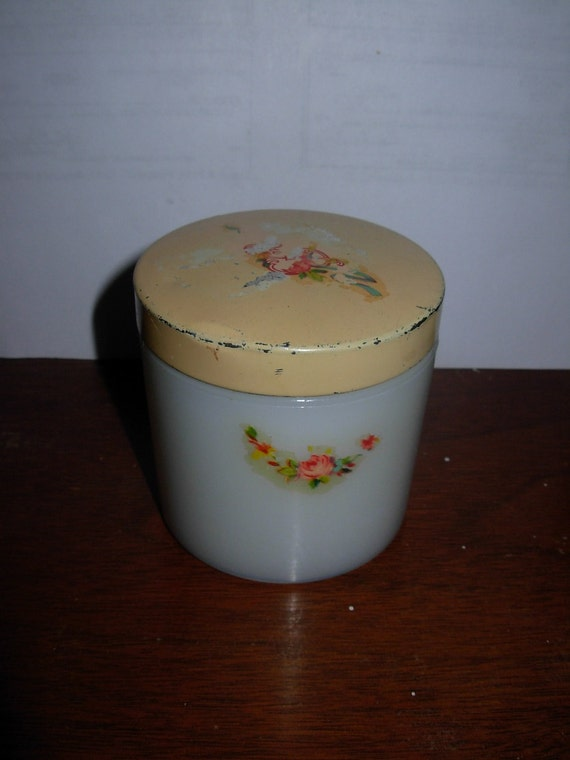 Vintage Milk Glass Cold Cream or Vaseline Jar with Floral Decals, possibly from the 30s or 40s