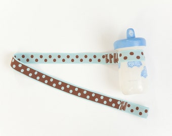 Custom Boutique (Blue and Brown Polka Dot) Sippy Cup Leash