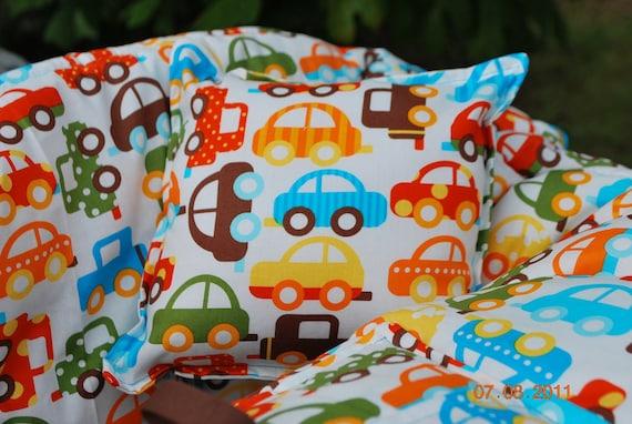 Shopping Cart Cover- Custom Boutique (Ready, Set, Go Cars) Shopping Cart Cover-  100% Organic Cotton
