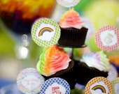 Rainbow Cupcake Toppers Party Circles - PRINTABLE - By A Blissful Nest