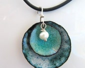 Enamel Jewelry, Enamel on Copper Pendant, Denim and Pearl