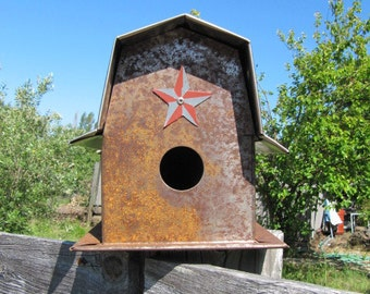 Birdhouse, Rusty Birdhouse, Lucky Star, Barn Star, Barn, Metal Birdhouse