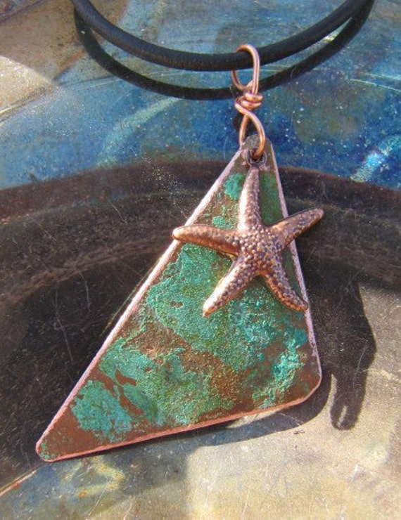 Copper Jewelry, Green Patina, Copper, Starfish, Pendant