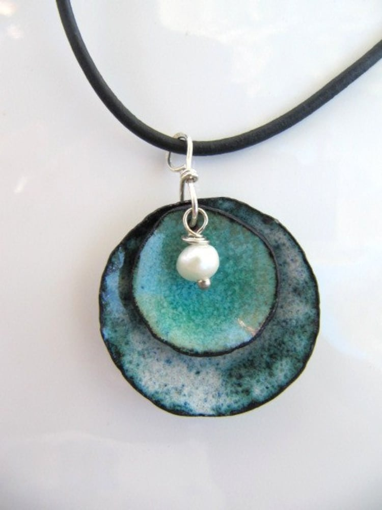 Enamel Jewelry Enamel On Copper Pendant Denim And By