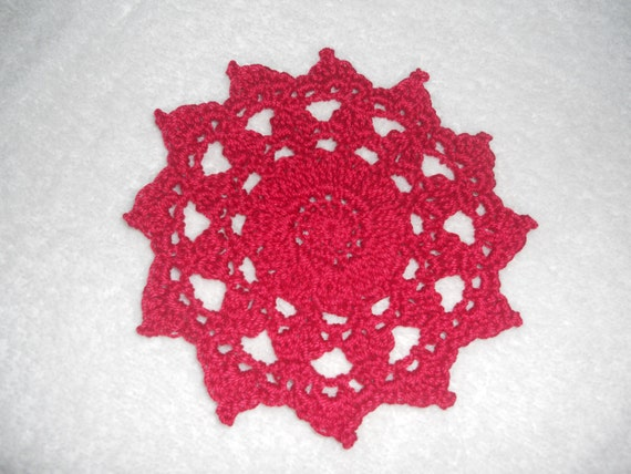 Free Shipping - Small Scarlet Red Doily