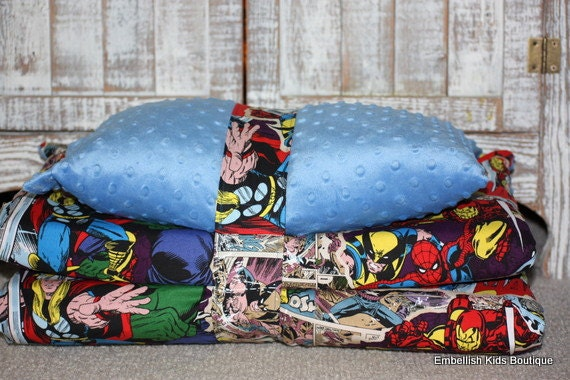 Kinder Nap Mat Cover -Marvel Comics & Blue Minky - Ready To Ship - Only 1 left - Matching Blanket NOT available