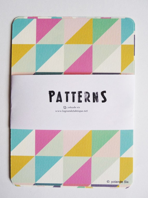 Cards - Geometric and colors - print - 8 postcards
