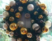 Golden Leopard Holiday Wreath made with Vintage Glass Ornaments