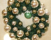 Go Green Holiday Wreath all reused Glass Ornaments
